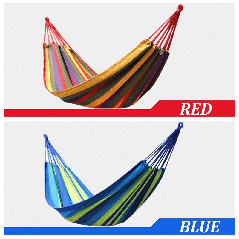 Popular Brand Portable Outdoor Garden Hammock Hang Bed Travel Camping Swing Canvas Stripe Sports & Entertainment Camping & Hiking