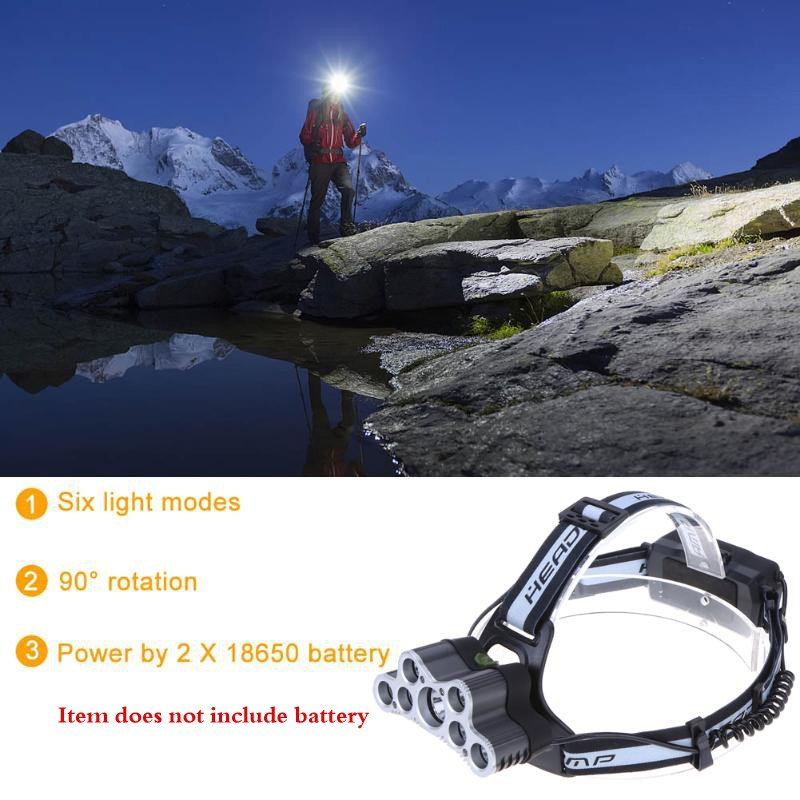 Camping & Hiking - 7/9 Lights LED Head Lamp Q5 T6 Bright Head-mounted